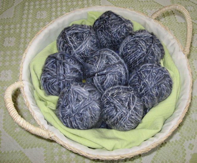 "$53 Lot--8 Skeins Yarn Bee Mosaic Twist ""Moody Blue"" Yarn + Free Gift!"