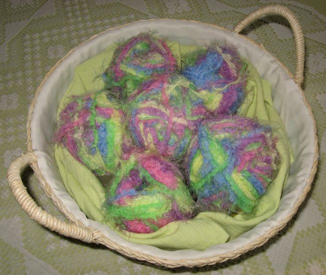 "$35 Lot--6 Skeins Yarn Bee Luscious ""Sherbet"" Yarn + Free Gift!"