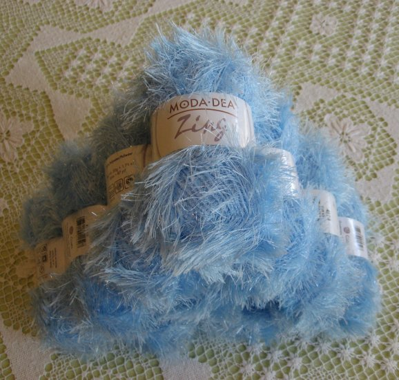"$60 Lot--10 Skeins Moda Dea Zing ""Blue Ice"" Yarn + Free Gift!"