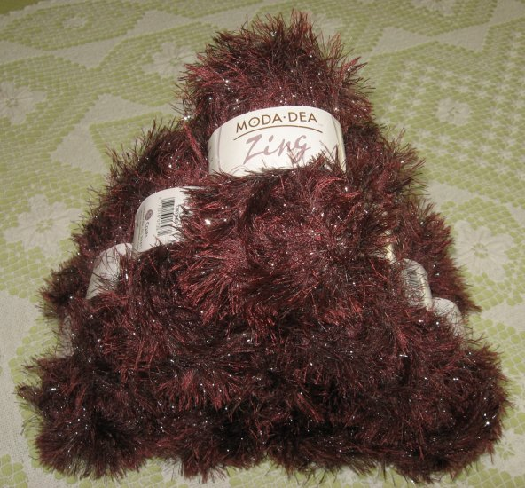 "$60 Lot--10 Skeins Moda Dea Zing ""Chestnut"" Yarn + Free Gift!"