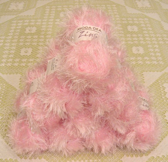 "$60 Lot--10 Skeins Moda Dea Zing ""Icy Pink"" Yarn + Free Gift!"