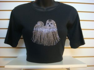 T-SHIRT MALTESE DOG PLUS SIZE 3XL BLACK SILVER FACETED