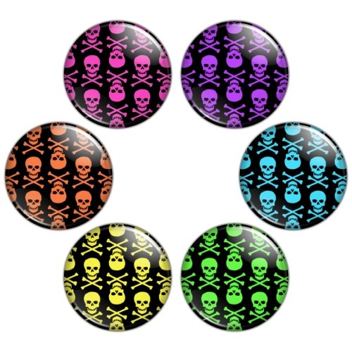 Skull Pattern 1.25 inch Pinback Button Badge Set