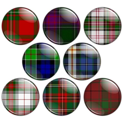 Tartan Pattern 1.25 inch Pinback Button Badge Set