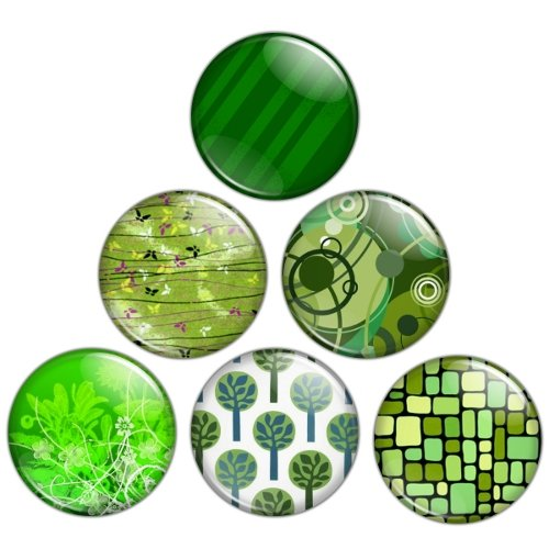 Green Color Themed 1.25 inch Pinback Button Badge Set 3