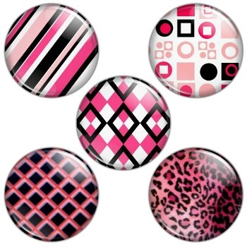 Pink & Black Color Themed 1.25 inch Pinback Button Badge Set