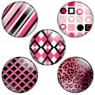 Pink & Black Color Themed 1.25 inch Pinback Button Badge Set