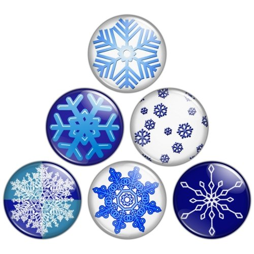 Snowflake 1.25 inch Pinback Button Badge Set