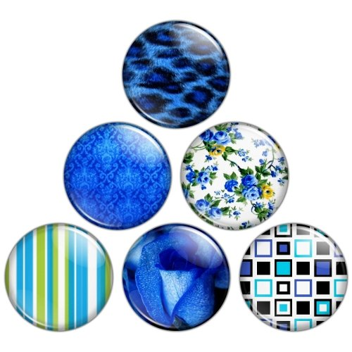 Blue Color Themed 1.25 inch Pinback Button Badge Set 2