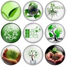 Go Green 1.25 inch Pinback Button Badge Set