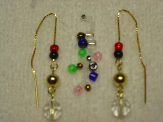14kt Vermeil Drop Bead Thread Threader Earrings #p122
