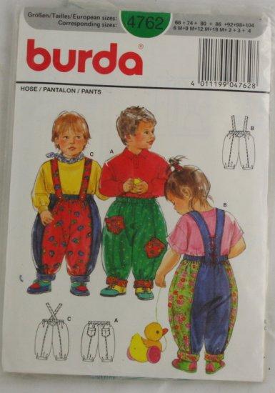 """Child's Pants"" Pattern Burda 4762 Sz 6M-4"