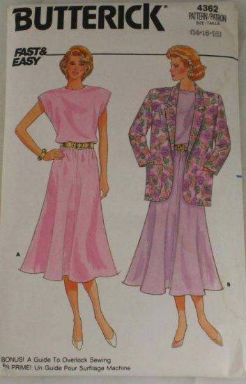 Jacket & Dress-Butterick 4362-VINTAGE PATTERN SZ 14-18