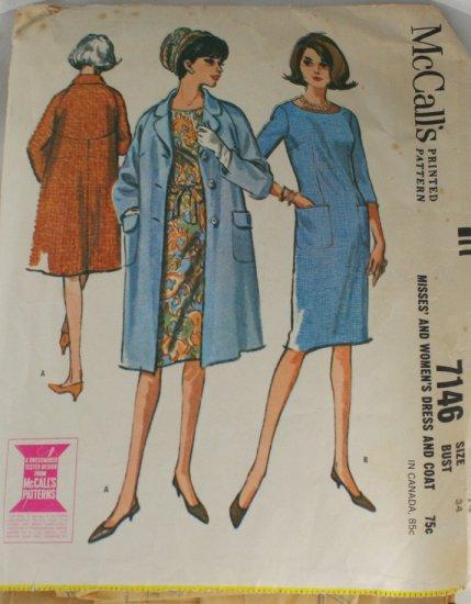Dress,Coat-McCall's 7146-VINTAGE PATTERN Sz 14