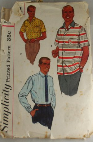 Men's Shirt-Simplicity 2081-VINTAGE PATTERN SZ Medium