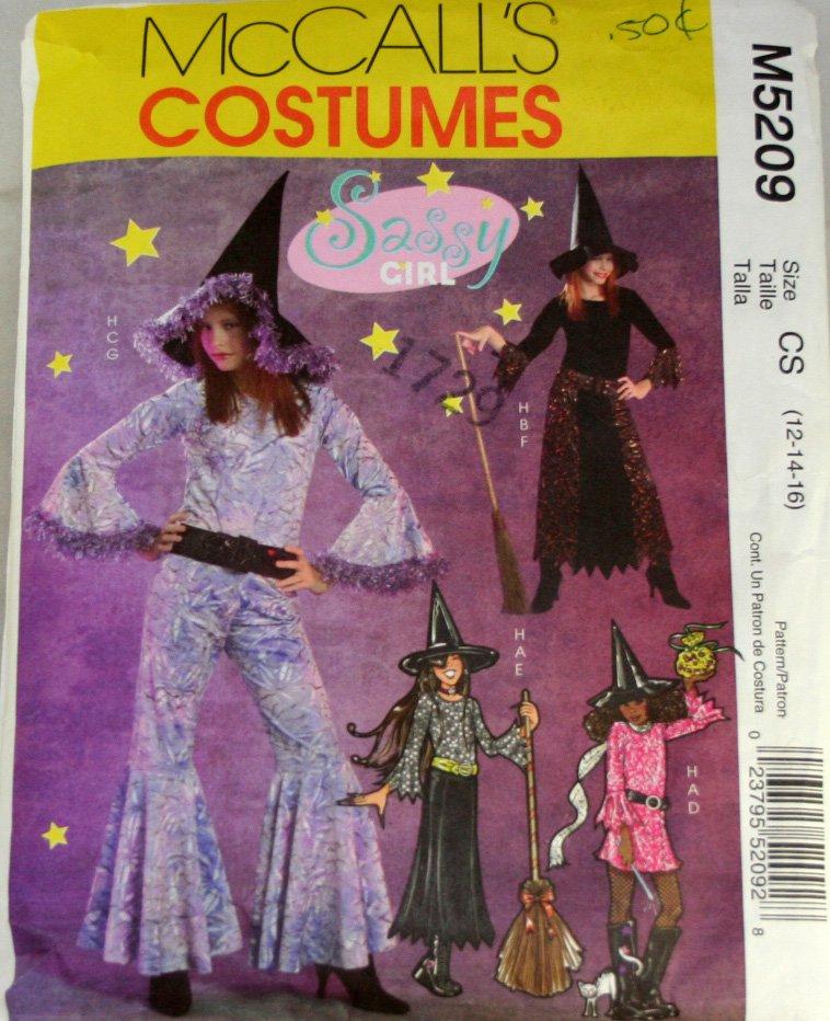 Girls Witch Costumes McCall's M5209 SZ CS 12,14,16