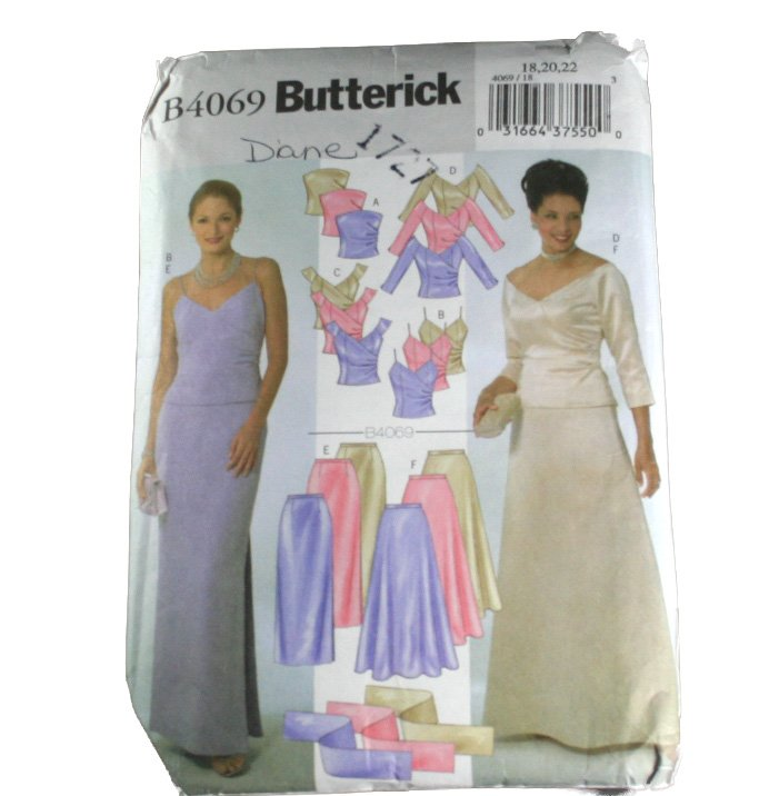 Misses Top,Skirt and Stole  Butterick B4069-VINTAGE PATTERN SZ 18,20,22