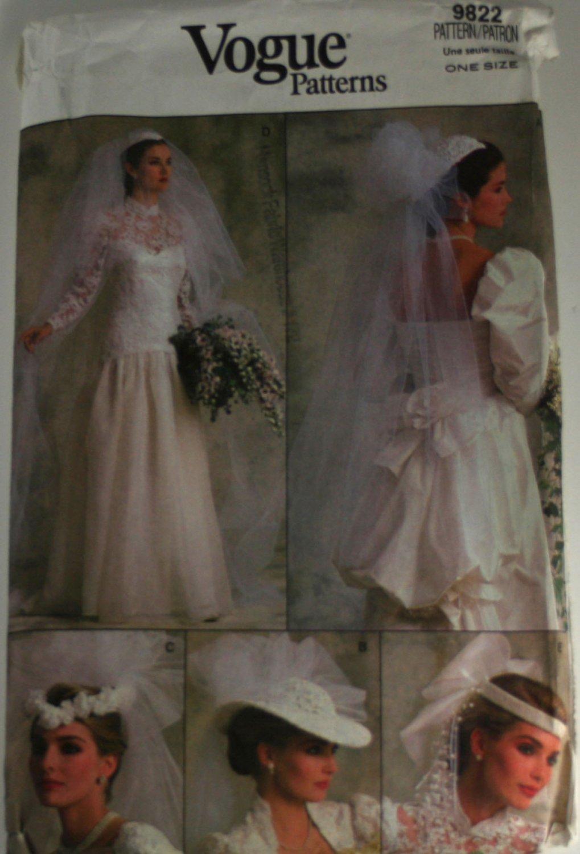 Misses Veil and Headpiece Vogue 9822-VINTAGE PATTERN SZ One