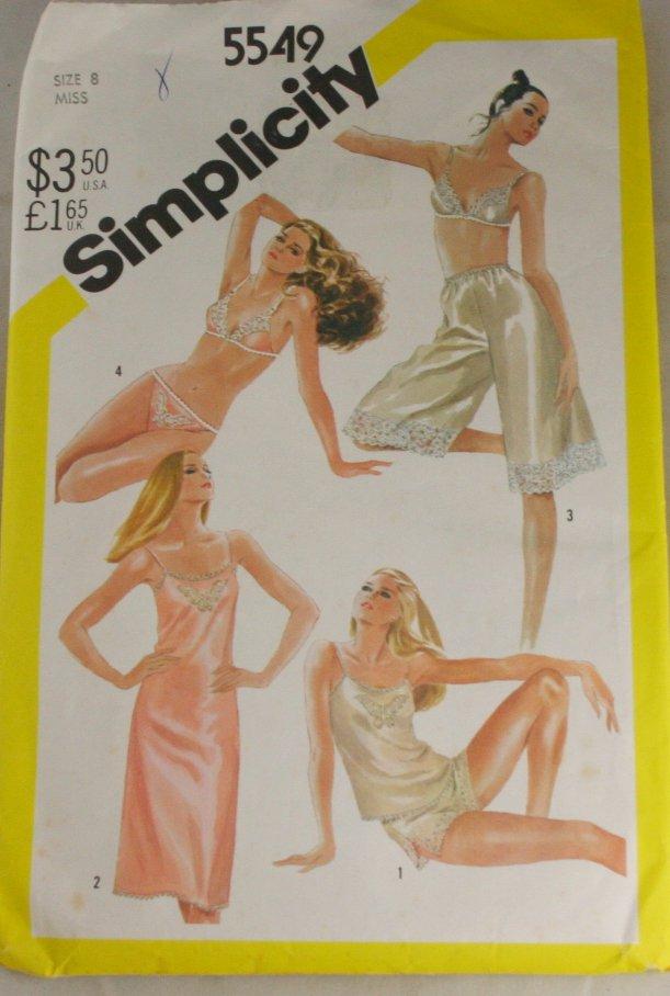 Misses Slip,Camisole,Bra,Panties Simplicity 5549 Sz 8