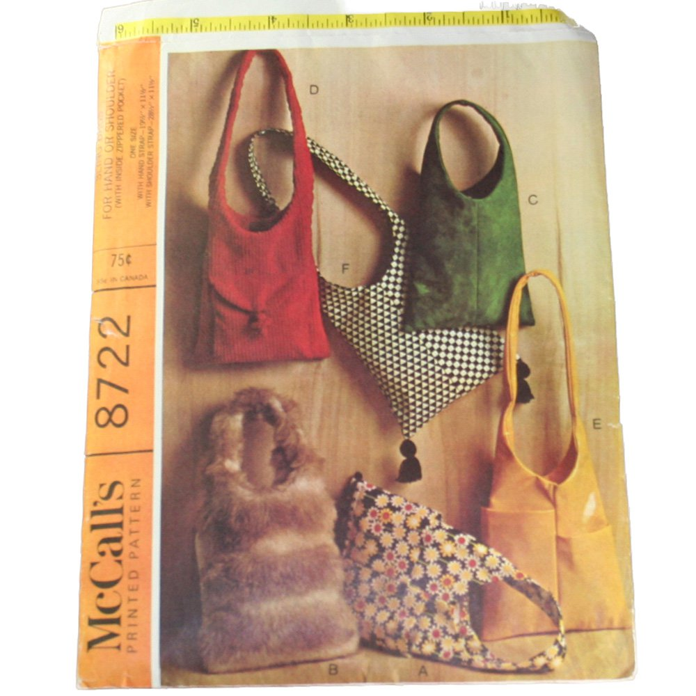 McCall's 8722 Sewing Pattern Sling Bags for Hand or Shoulder VINTAGE   Sz  One