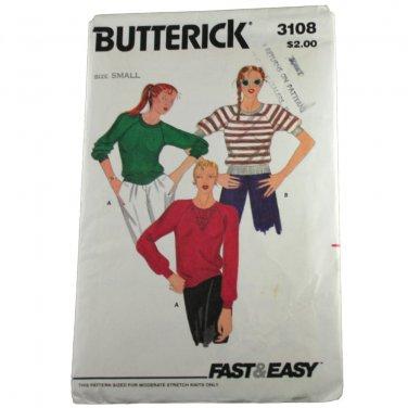 Butterick 3108 Misses T Shirt VINTAGE PATTERN Sz  Small