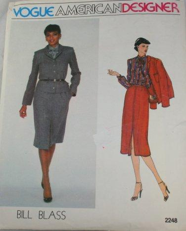 Vogue American Designer 2248 Bill Blass Misses Jacket,Skirt  Sz 8