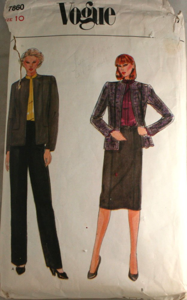 Vogue 7860-Misses Jacket,Skirt,Pants and Blouse  SZ 10