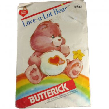 Butterick 6232 Care Bears Love-A-Lot Bear  VINTAGE PATTERN SZ one