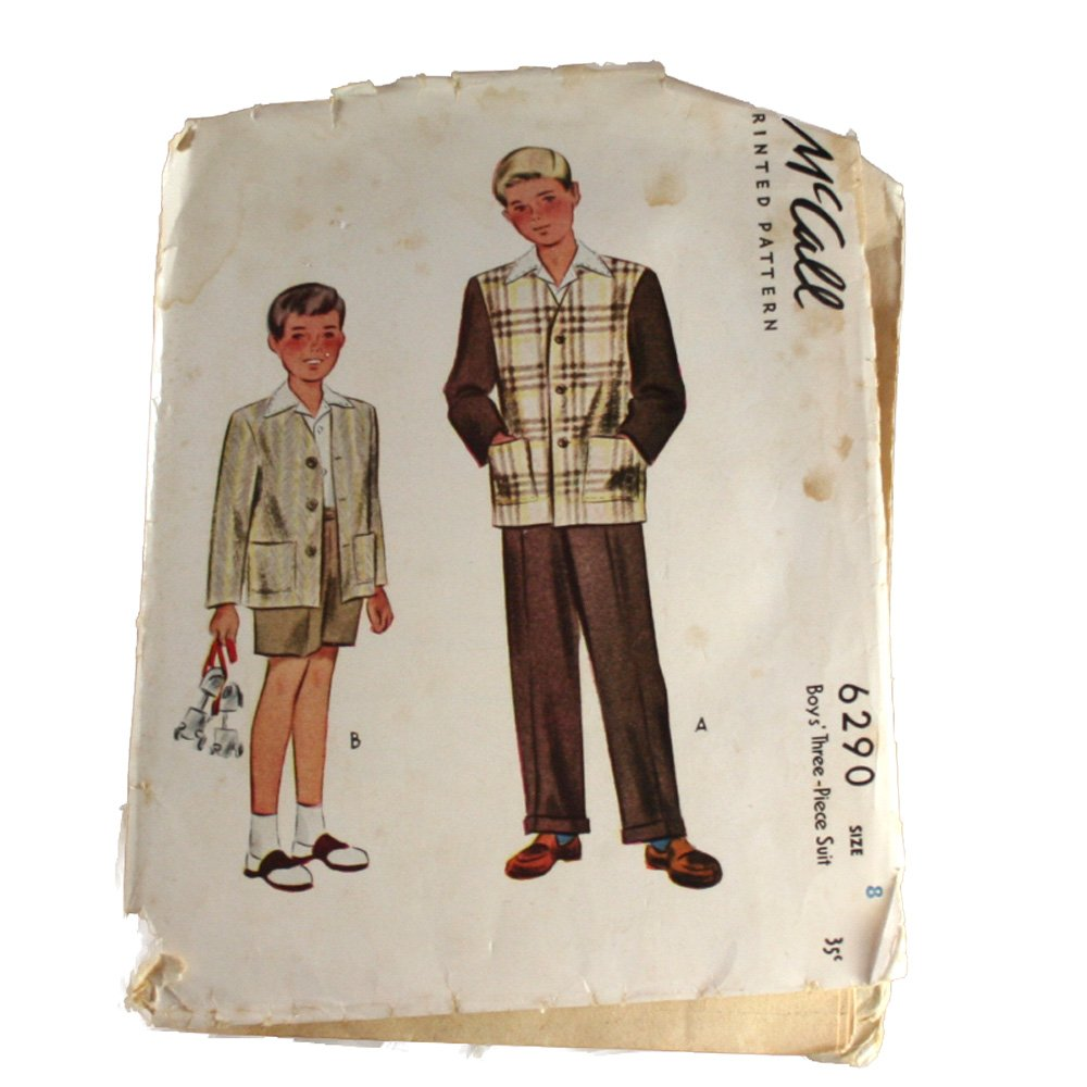 1945 Boy's Three-Piece Suit McCall's 6290 SZ 8