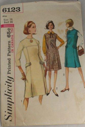 Misses Pleat Dress or Jumper Simplicity 6123 Size 16