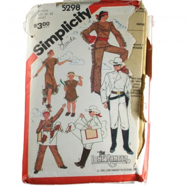Adult Lone Range,Tonto,Silver,Scout Costumes-Simplicity 5298 SZ Med