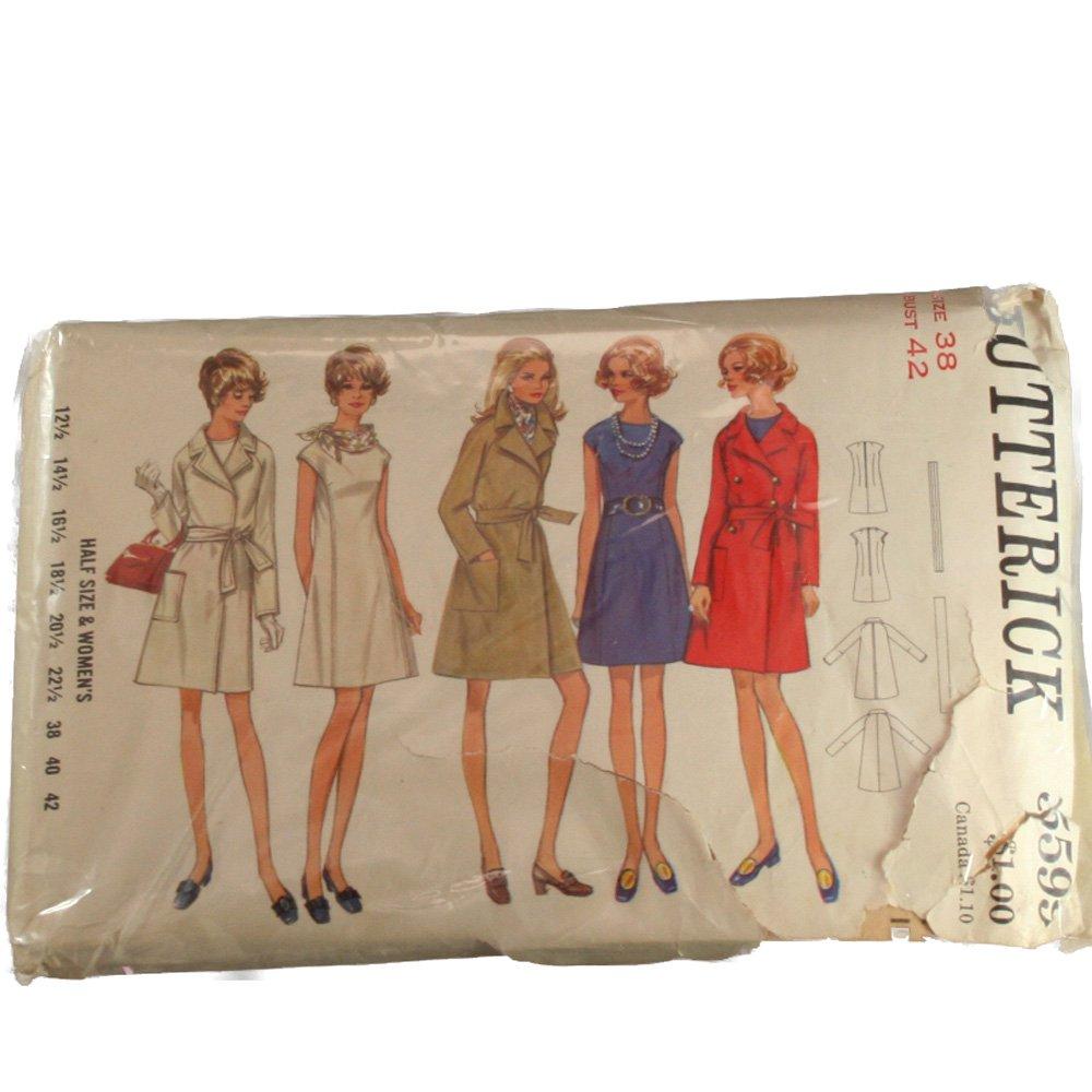 Butterick 5599 Womens One Piece Dress & Coat Sz 38, Bust 42