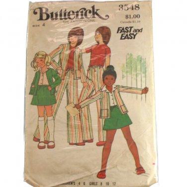 Children Girls Jacket Skirt & Pants Butterick 3548 SZ 4