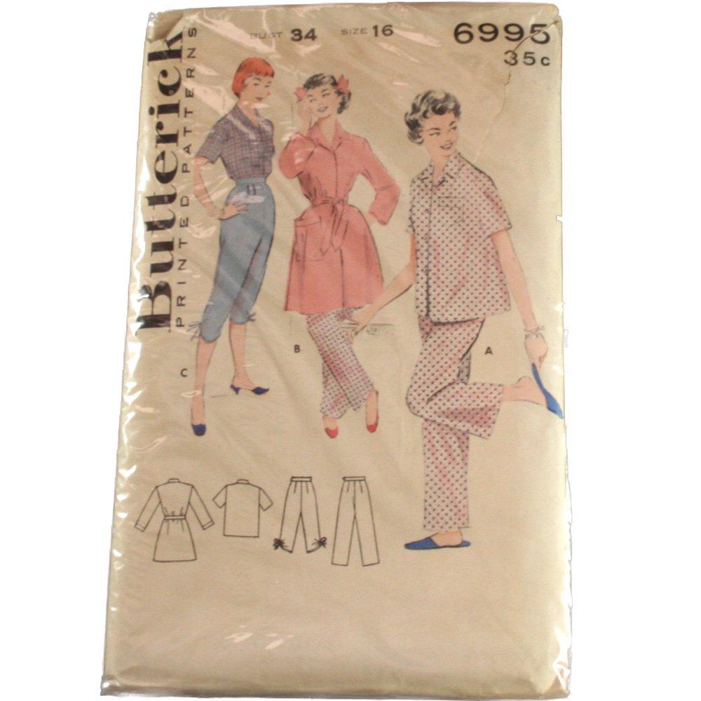 Butterick 6995 Misses Two Piece Pajama & Robe Ensemble SZ 16, Bust 34