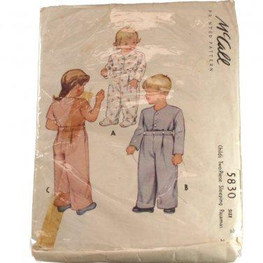 McCall 5830 Child's Two Piece Sleeping Pajamas SZ 2