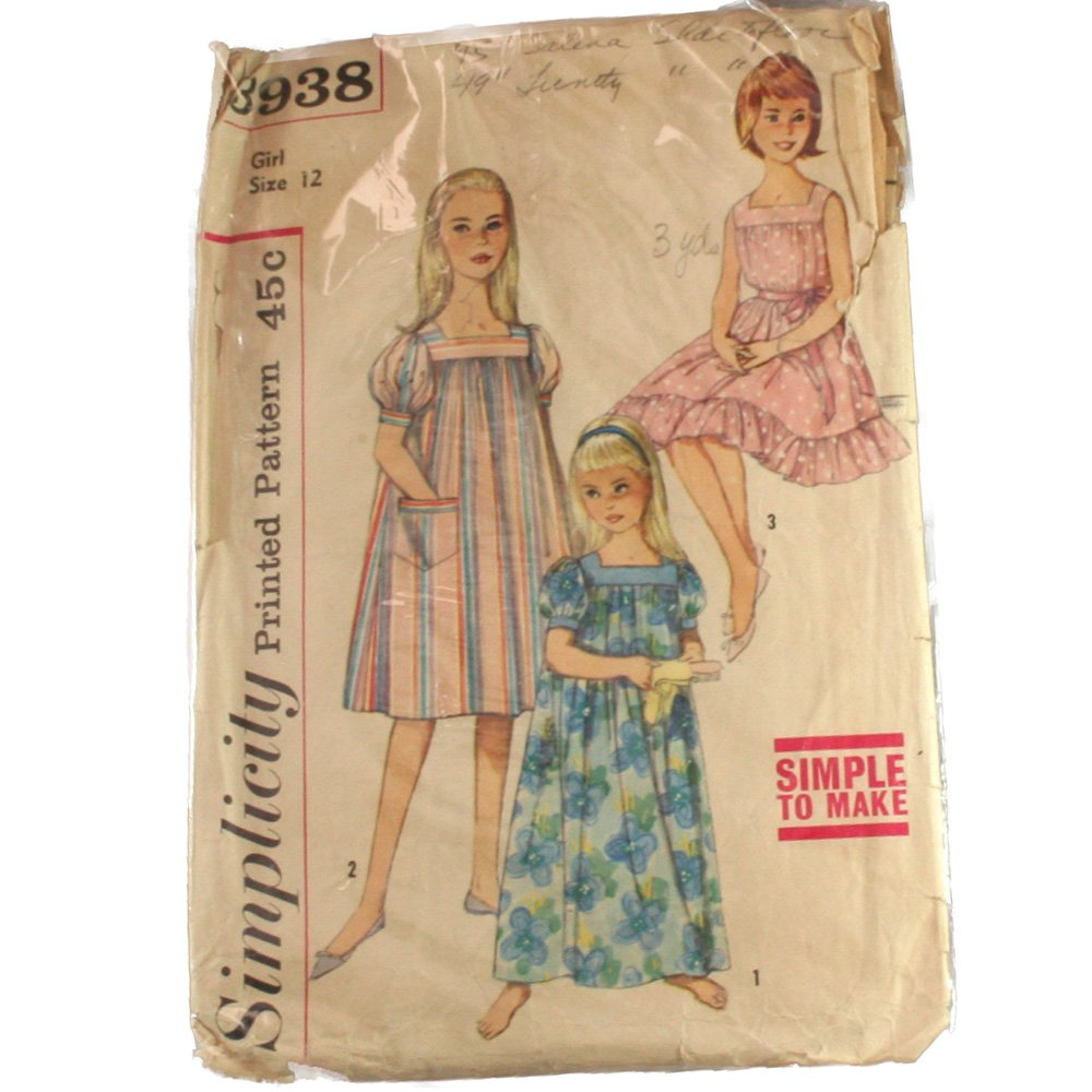 Simplicity 3938  Girls Muu Muu and Nightgown Sz 12
