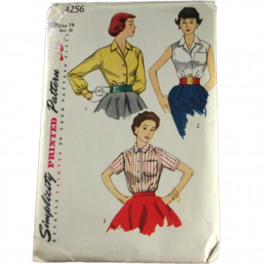 Simplicity 4256 Misses and Junior Misses Blouse  Size 14,Bust 32