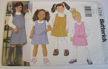 Childs A Line Jumper Sewing Pattern Low Armholes Back Zipper Butterick 3216 (6-7-8)