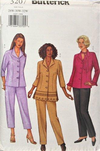 Butterick 3207 SEWING Pattern Womens Shirt, Capris, Pants Plus szs 28W,30W,32W
