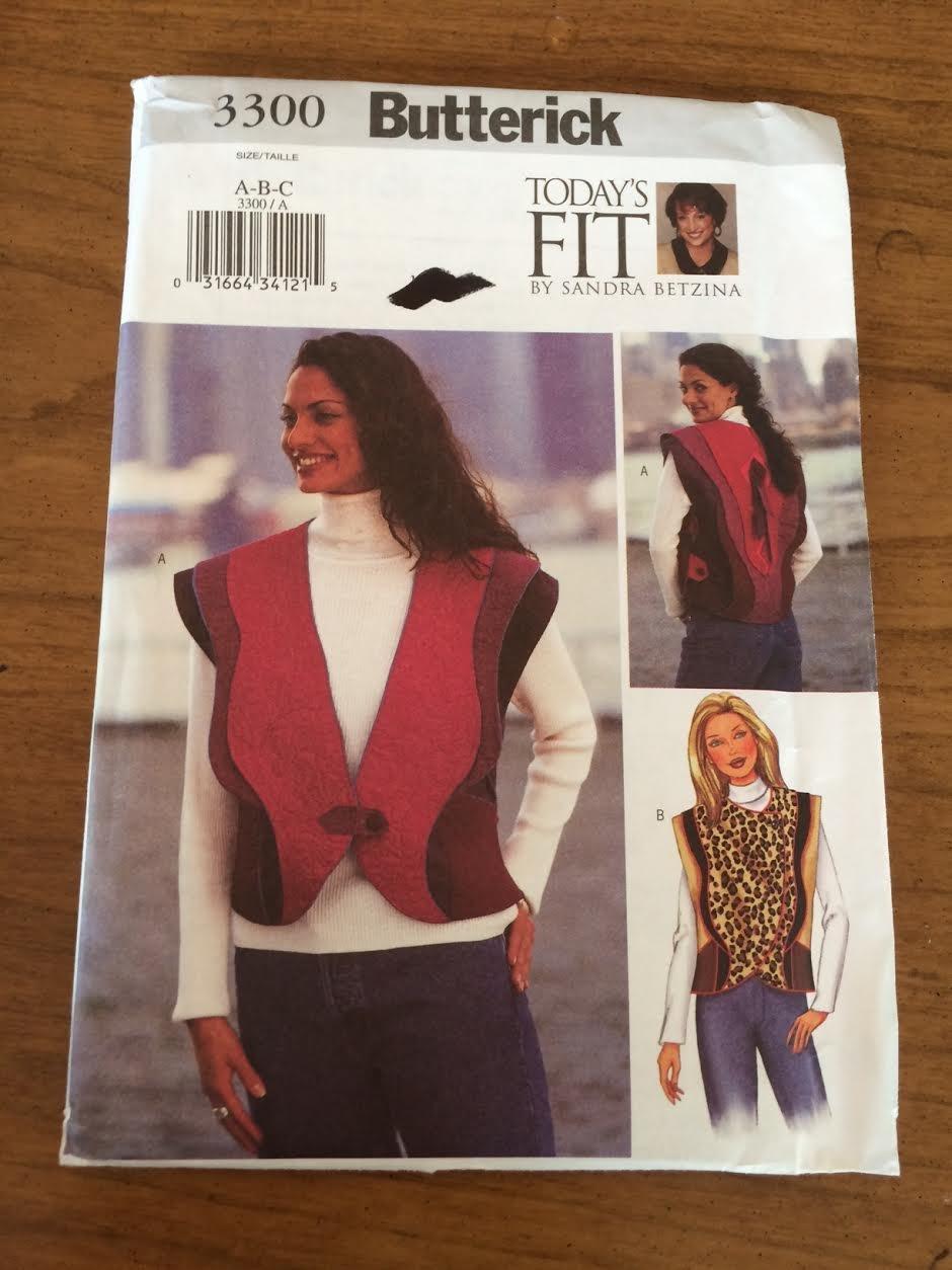 Butterick 3300 Sewing Pattern, Misses' Vest, Size G-H-I-J Bust 46-55