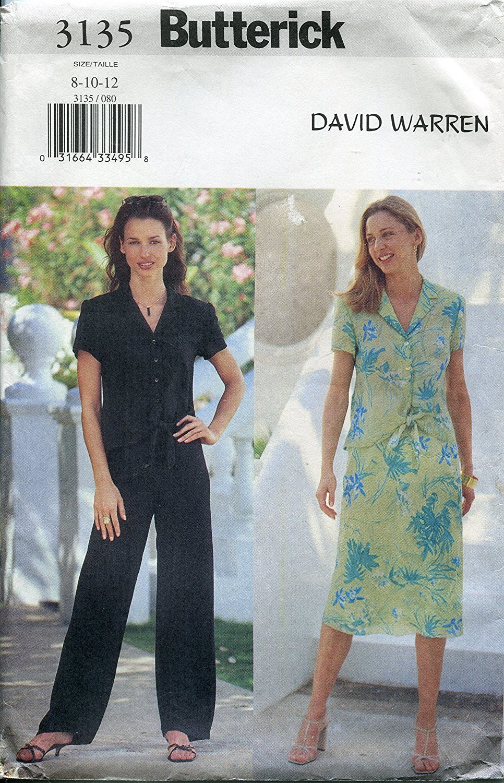 Butterick Pattern 3135 David Warren Misses'/Misses' Petite Top, Skirt and Pants, Sizes 8-10-12