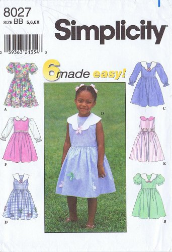 Dress with 6 Variations - Simplicity 8027, Girls 5-6-6X