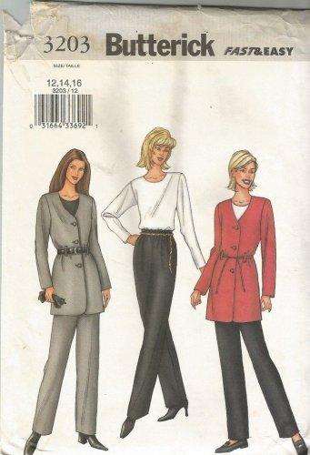 Butterick 3203 Long Sleeve Jacket Top Pants Pattern Misses Size 6,8,10