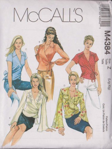 Misses Tops McCall's Sewing Pattern M4384 (Size Z: Lrg-Xlg) 16-22