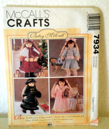 """McCall's Crafts 7934 Doll Clothes for 18"""" Doll Betsy McCall"""