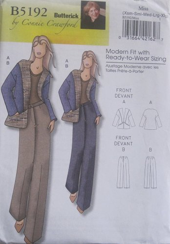 Butterick Sewing Pattern B 5192 Womens Jacket and Pants Size Xsm-sml-med-lrg-xlg