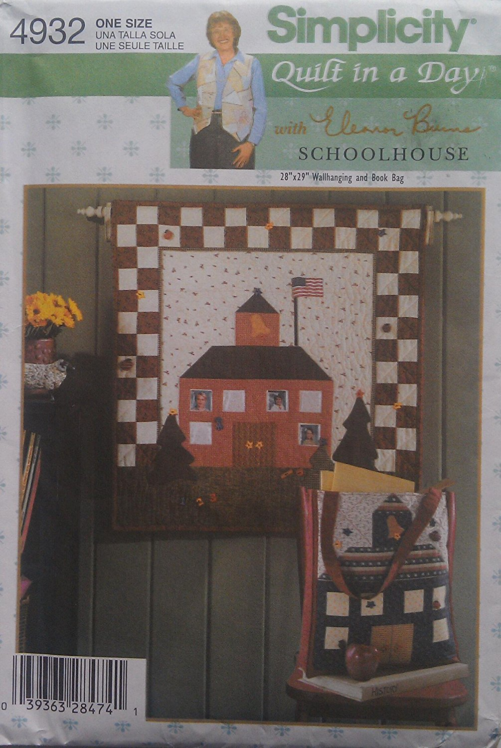 Simplicity Pattern 4932 Schoolhouse Quilt in a Day with Eleanor Burns