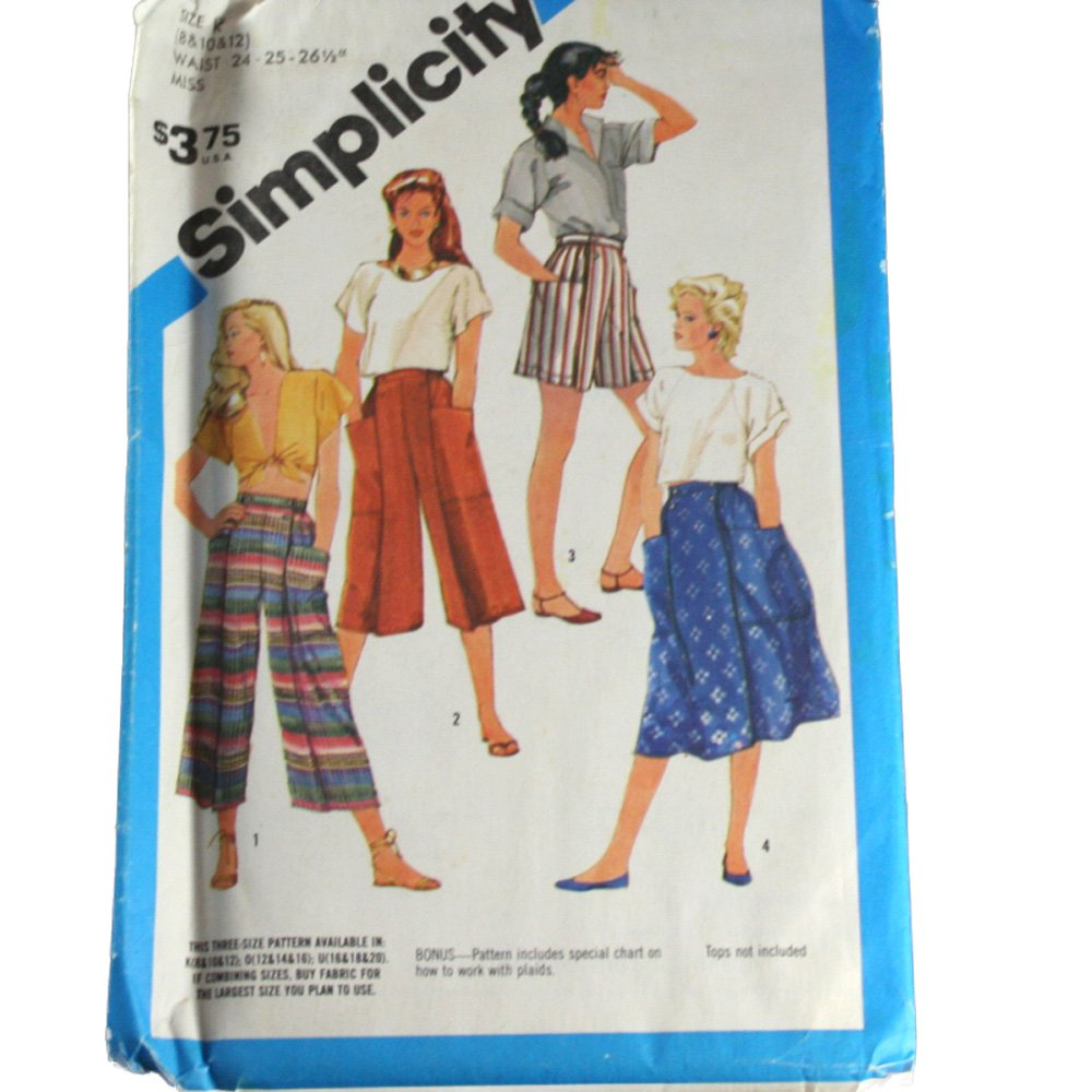 Simplicity 6417 Sewing Pattern Misses Easy To Sew Culottes in Three Lengths and Skirt Size K 8,10,12