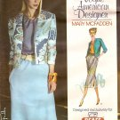 Vogue American Designer Mary McFadden  Misses Jacket,Blouse,Skirt,Belt Sizes 6-14