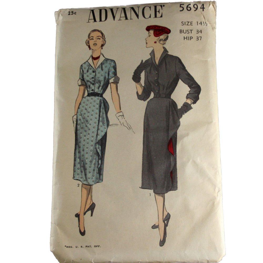 Advance 5694 Sewing Pattern Half Size Wraparound Dress Size 14-1/2
